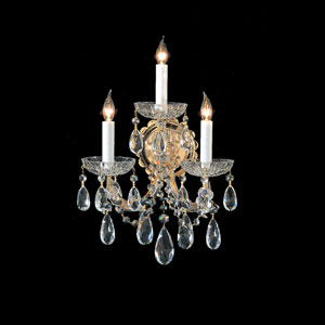 Maria Theresa Gold Three-Light Wall Sconce with Hand Polished Crystal