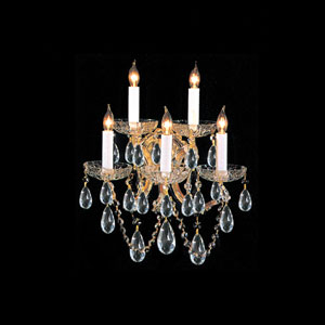 Maria Theresa Gold Five-Light Wall Sconce with Hand Polished Crystal
