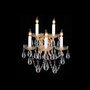 Maria Theresa Gold Five-Light Wall Sconce with Swarovski Strass Crystal