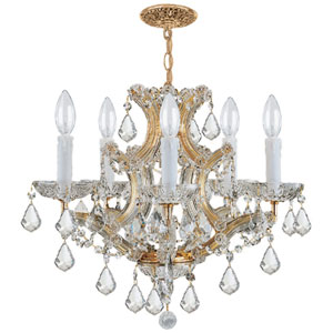 Maria Theresa Traditional Gold Five-Light Chandelier with Hand Cut Crystal
