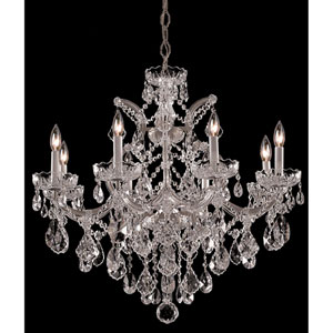 Maria Theresa Polished Chrome Eight-Light Chandelier with Hand Cut Crystal