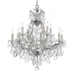 Maria Theresa Polished Chrome Thirteen Light Chandelier with Clear Italian Crystal
