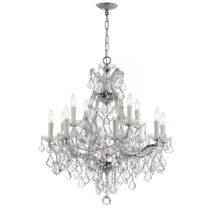 Maria Theresa Polished Chrome Thirteen-Light Chandelier with Swarovski Spectra Crystal