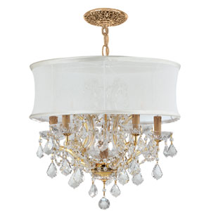 Brentwood Gold Six-Light Chandelier with Hand Polished Crystal
