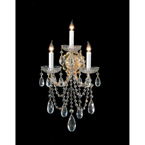Maria Theresa Gold Three-Light Crystal Sconce
