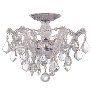 Maria Theresa Polished Chrome Three-Light Semi Flush Mount with Hand Polished Crystals