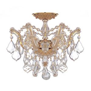 Maria Theresa Polished Gold Three-Light Semi Flush Mount with Swarovski Spectra Crystals