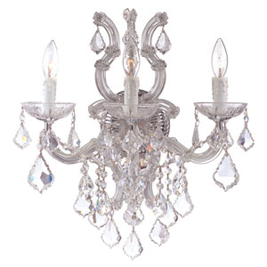 Maria Theresa Polished Chrome Three-Light Wall Sconce with Hand Polished Crystals