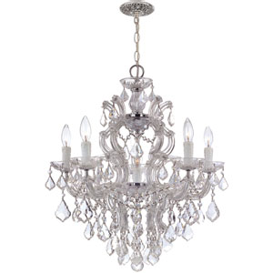Maria Theresa Polished Chrome Five-Light Chandelier with Hand Polished Crystals