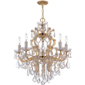 Maria Theresa Polished Gold Five-Light Chandelier with Hand Polished Crystals