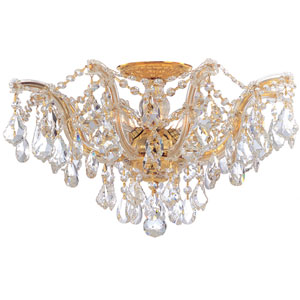 Maria Theresa Polished Gold Five-Light Semi Flush Mount with Hand Polished Crystals