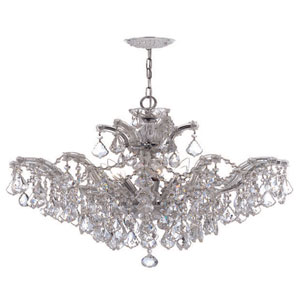 Maria Theresa Polished Chrome Six-Light Convertible Chandelier with Hand Polished Crystals