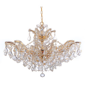 Maria Theresa Polished Gold Six-Light Convertible Chandelier with Hand Polished Crystals
