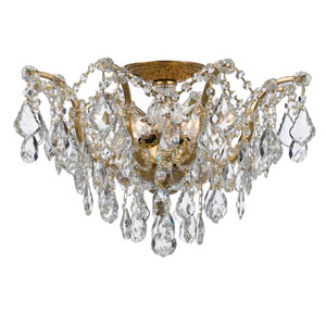 Filmore Antique Gold Five-Light Semi-Flush Mount Fixture