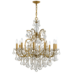 Filmore Antique Gold 32-Inch 10-Light Chandelier with Clear Crystal