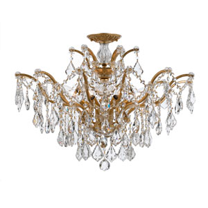 Filmore Antique Gold 27-Inch Six Light Semi Flush Mount with Clear Crystal