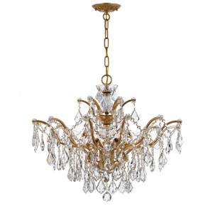 Filmore Antique Gold 27-Inch Six Light Swarovski Strass Chandelier