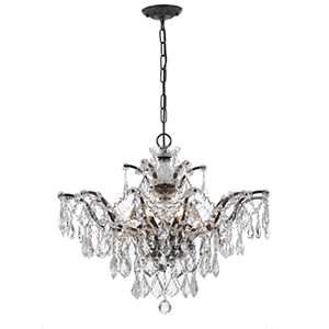 Filmore Vibrant Bronze 20-Inch Six Light Hand Cut Crystal Chandelier