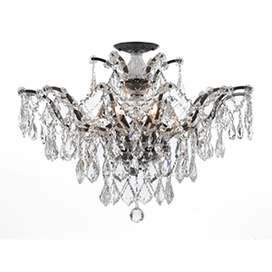 Filmore Vibrant Bronze 20-Inch Six Light Semi Flush Mount with Clear Crystal