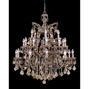 Maria Theresa Twenty Six-Light Chandelier with Golden Teak Swarovski Strass Crystal