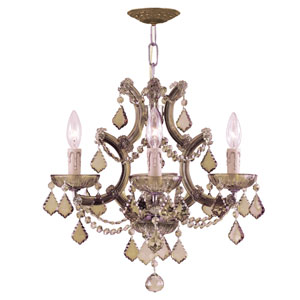 Maria Theresa Four-Light Chandelier with Golden Teak Swarovski Strass Crystal