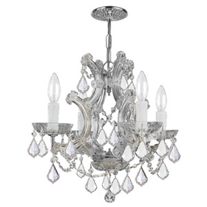 Maria Theresa Polished Chrome Four-Light Chandelier Draped In Hand Cut Crystal