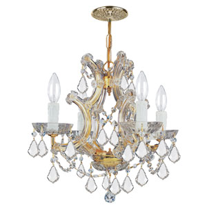 Maria Theresa Gold Four-Light Chandelier with Swarovski Strass Crystal