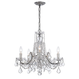 Maria Theresa Polished Chrome Five-Light Chandelier Draped In Clear Cut Crystal