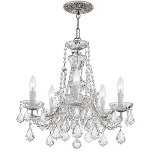 Maria Theresa Polished Chrome Five-Light Chandelier Draped In Swarovski Strass Crystal