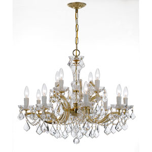 Maria Theresa Gold Twelve-Light Chandelier with Clear Strass Crystal