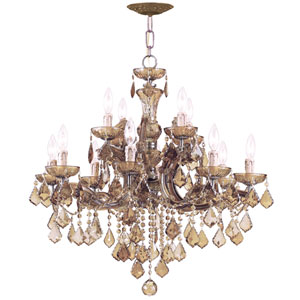 Maria Theresa Eight-Light Chandelier with Golden Teak Swarovski Strass Crystal