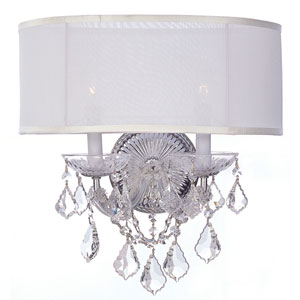 Brentwood Polished Chrome Two-Light Wall Sconce with Swarovski Strass Crystals