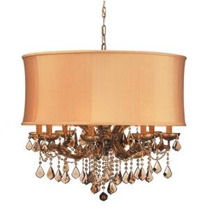Brentwood Antique Brass Twelve-Light Golden Teak Crystal Pendant