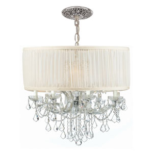 Brentwood Polished Chrome Twelve-Light Crystal Drum Pendant