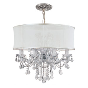 Brentwood Polished Chrome Twelve-Light Chandelier with Hand Polished Crystal and Smooth Silk Shade