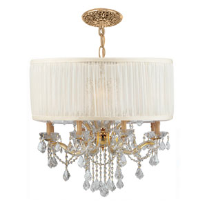 Brentwood Gold Twelve-Light Pendant Draped In Clear Swarovski Strass Crystal