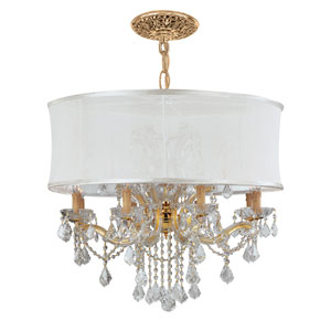 Brentwood Gold Twelve-Light Chandelier with Hand Polished Crystal