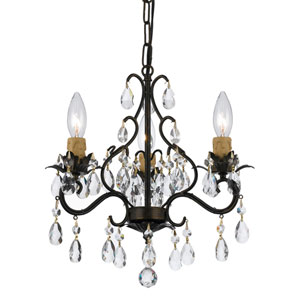 Filmore English Bronze Three-Light Mini Chandelier