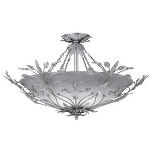 Victoria Medium Silver Leaf Semi-Flush Ceiling Light