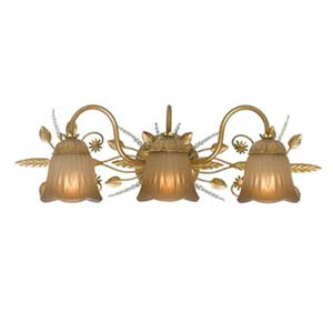Primrose Gold Leaf Swarovski Spectra Three-Light Bathroom Light