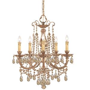 Etta Olde Brass Five-Light Golden Teak Crystal Chandelier