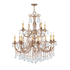 Etta Olde Brass Twelve-Light Crystal Chandelier