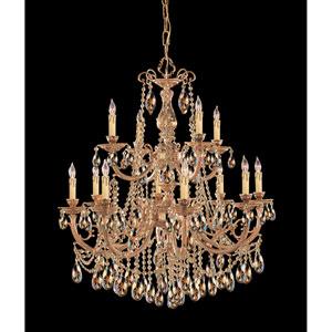 Etta Olde Brass Twelve-Light Golden Teak Crystal Chandelier