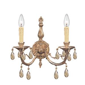 Etta Olde Brass Two-Light Golden Teak Crystal Sconce