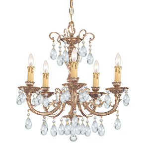 Etta Ornate Cast Brass Five-Light Chandelier with Swarovski Strass Crystal