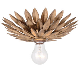 Broche Antique Gold One-Light Flush Mount