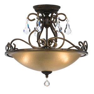 Ashton English Bronze Three Light Semi-Flush Mount with Hand Cut Crystal