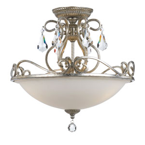 Ashton Olde Silver Three Light Semi-Flush Mount with Hand Cut Crystal