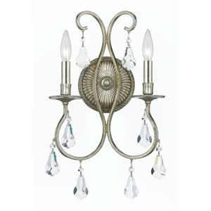 Ashton Old Silver Two-Light Wall Sconce with Hand Polished Crystal