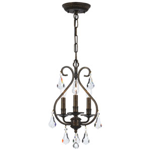 Ashton English Bronze Three Light Mini Chandelier with Hand Cut Crystal